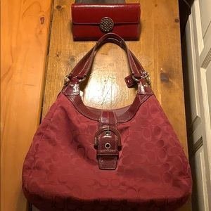 Coach Maggie Purse Burgundy/Red with wallet
